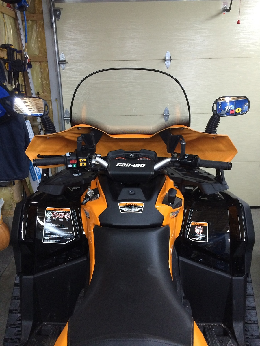 can am outlander max xtp 2016 orange brp 12 model atv windshield included in the box fairing deflector wind screen 16 3 4¨ hardware mounting kit installation guide and mirrors dimensions l x w x h 38 00 x 16 50 x